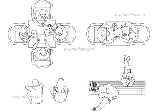 People sitting view top - DWG, CAD Block, drawing.