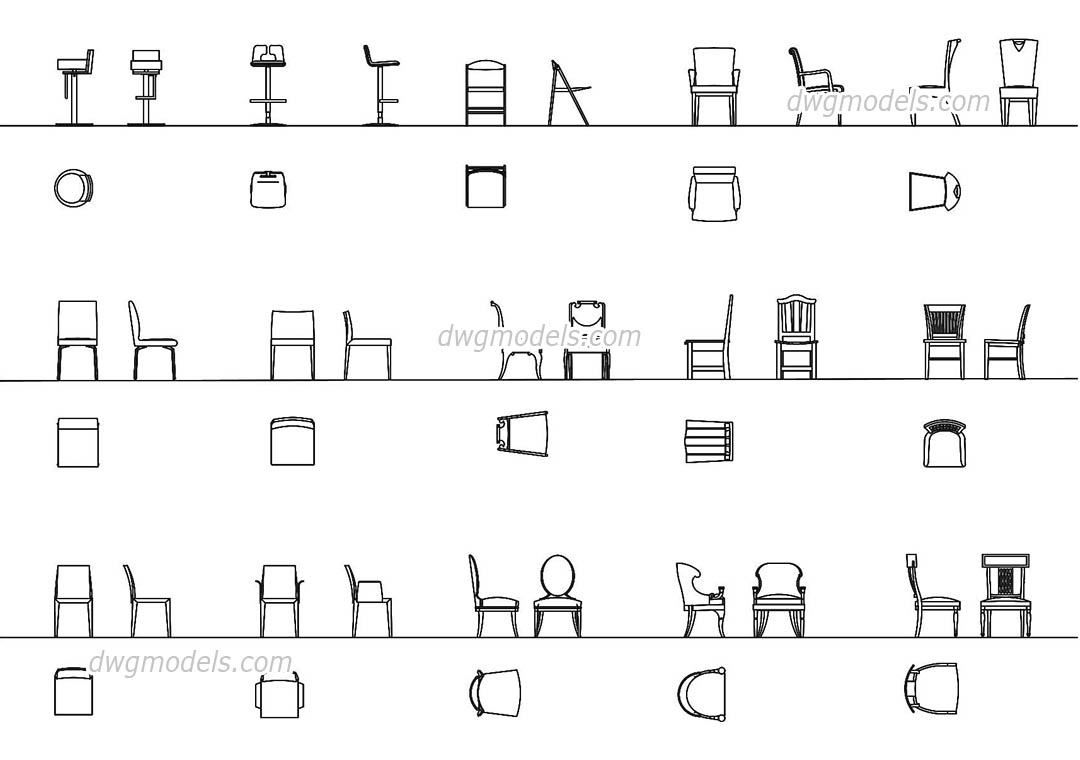 Chairs All Projections Dwg Free Cad Blocks Download