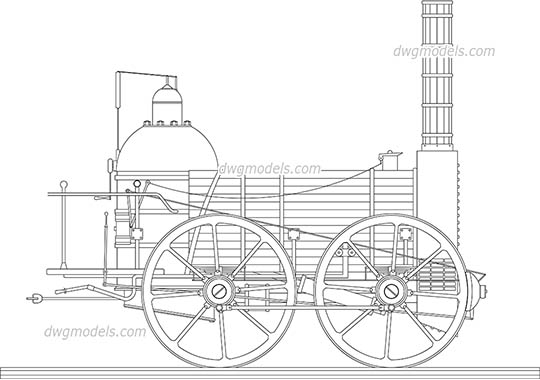 Steam locomotive - DWG, CAD Block, drawing
