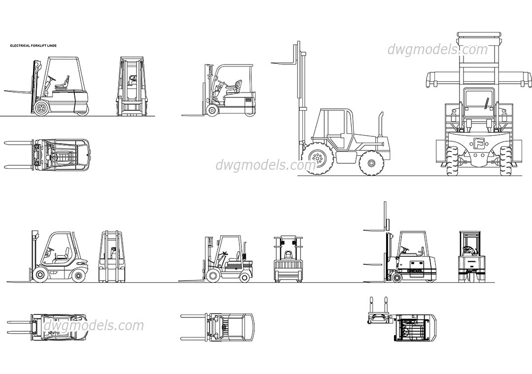 Front Elevation Autocad File Free Download : Forklifts dwg free cad blocks download