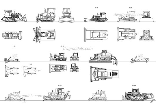Russian Crawler tractors and Bulldozers dwg, cad file download free.