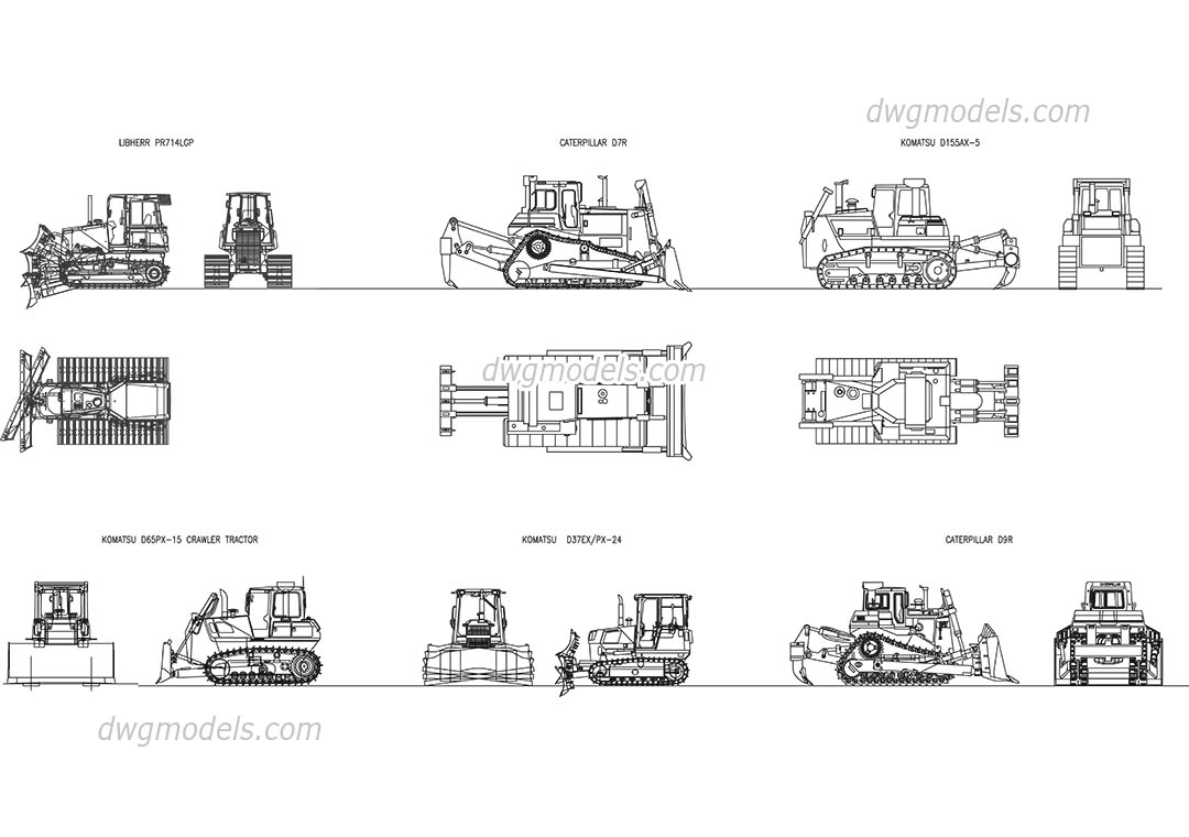 Crawler tractor Bulldozer dwg, CAD Blocks, free download.