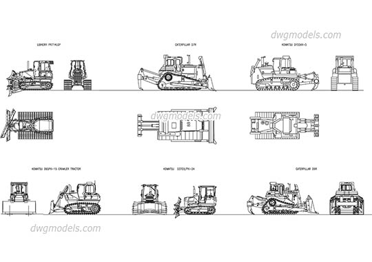 Crawler tractor Bulldozer dwg, cad file download free.