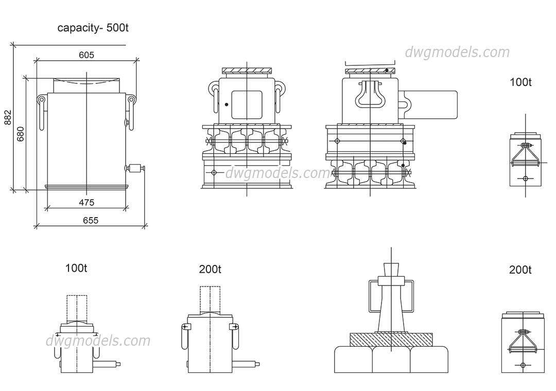 Screw jack DWG, free CAD Blocks download