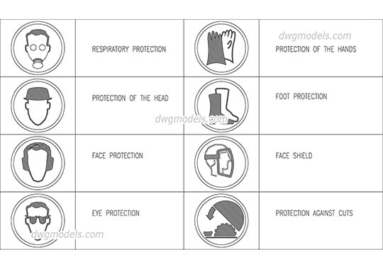 Occupational safety symbols dwg, cad file download free.