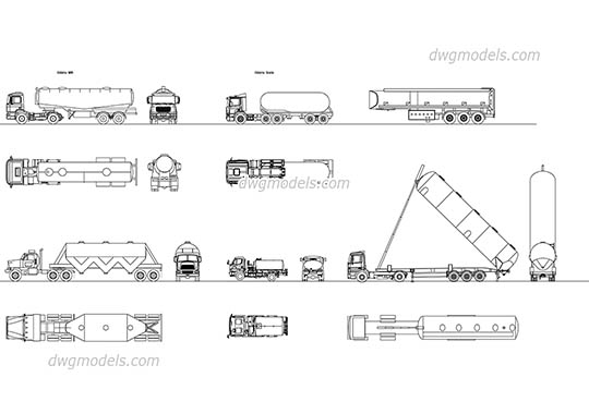 Tanker truck set free dwg model