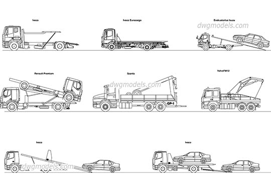Tow trucks dwg, cad file download free