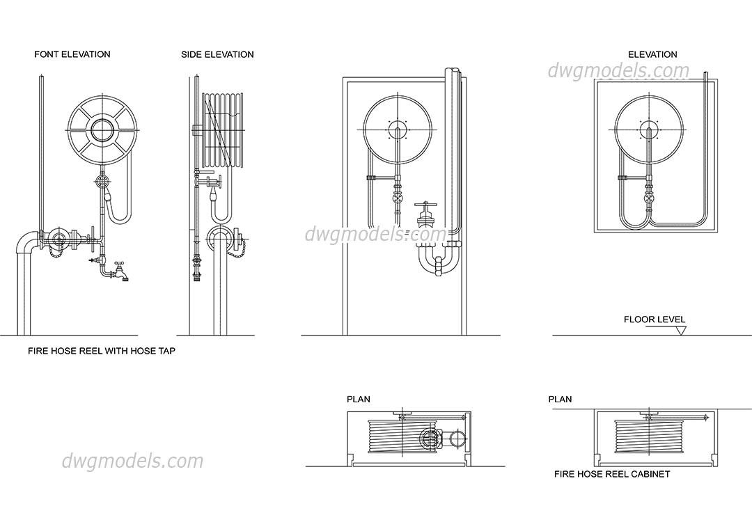Fire hydrants DWG, free CAD Blocks download