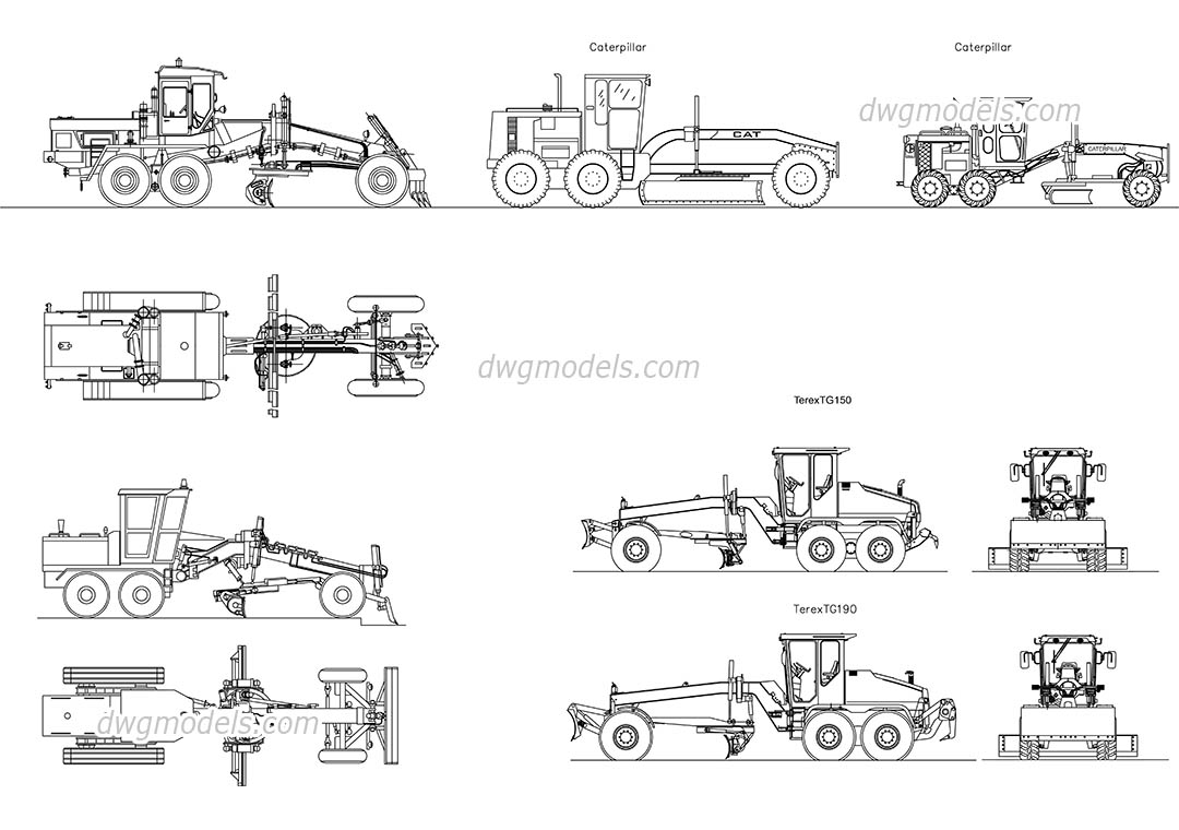 Road Graders Dwg Free Cad Blocks Download