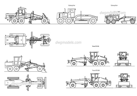 Road graders - DWG, CAD Block, drawing