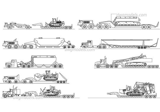 Heavy haul trucks free dwg model