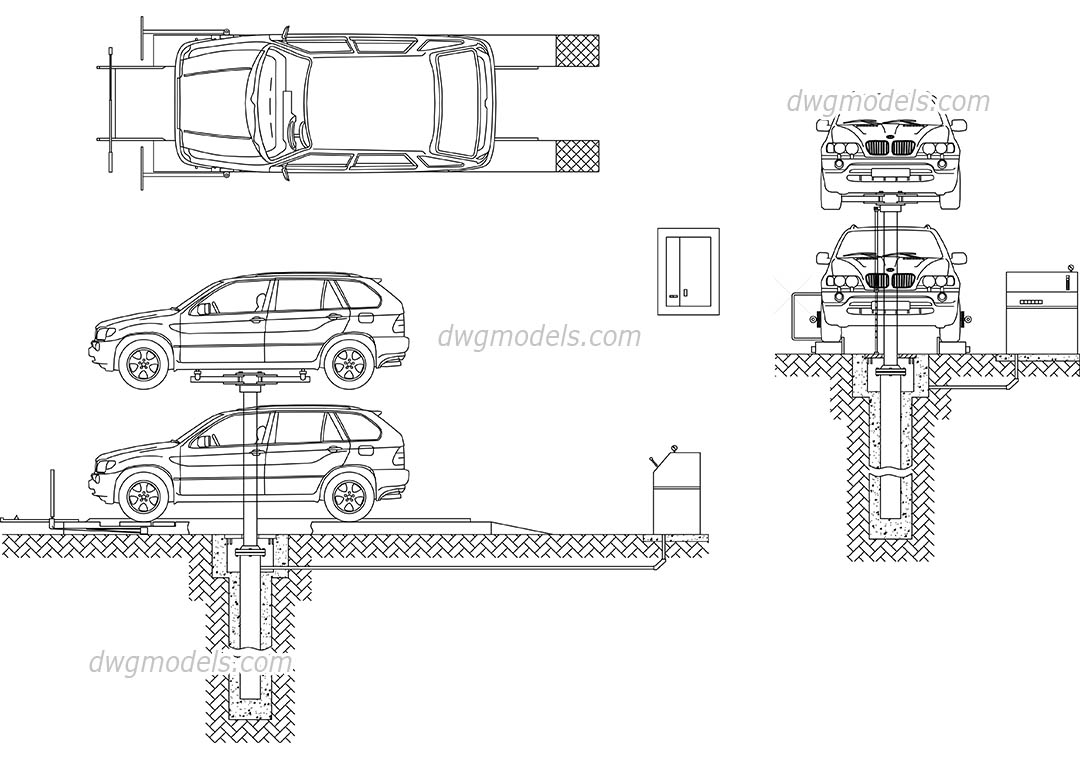 Car lift service dwg free cad blocks download for Cad car plan