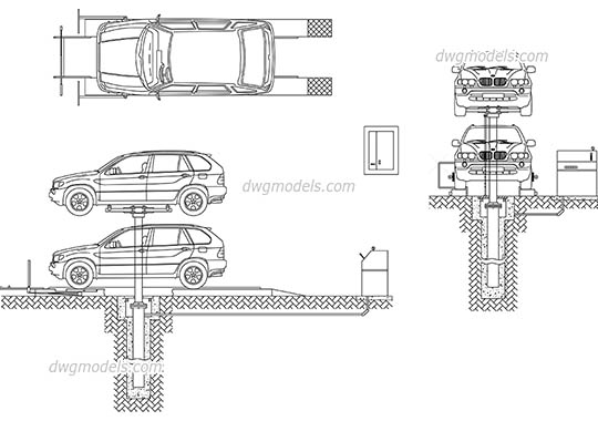 Car lift service free dwg model