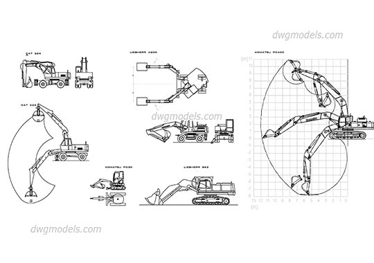 Excavators CAT Liebherr Komatsu - DWG, CAD Block, drawing