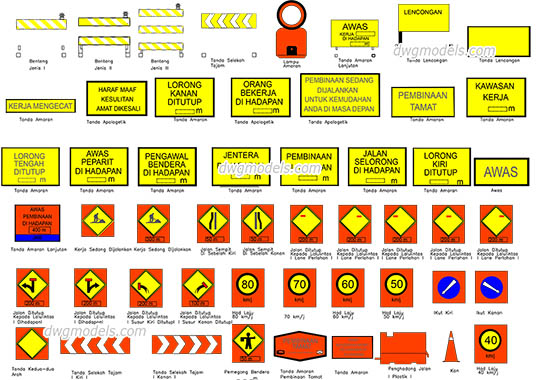 Road signs in Malaysia - DWG, CAD Block, drawing