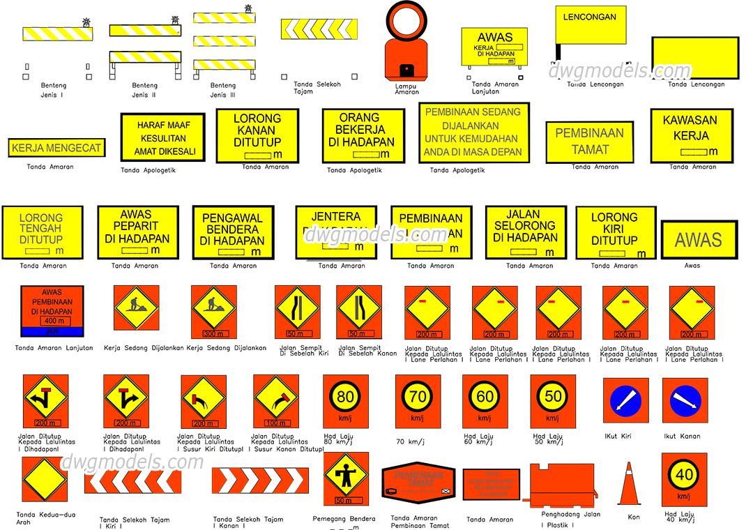 Road signs in Malaysia dwg, CAD Blocks, free download.