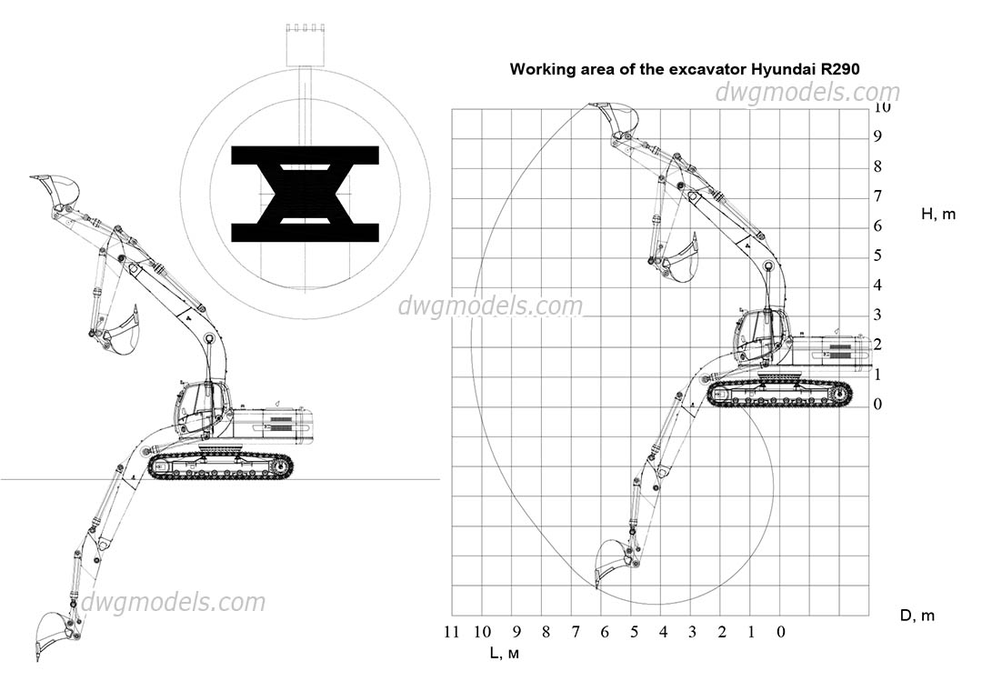 Excavator Hyundai R290 dwg, CAD Blocks, free download.