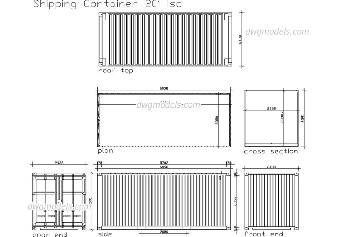 Shipping Container dwg, CAD Blocks, free download.