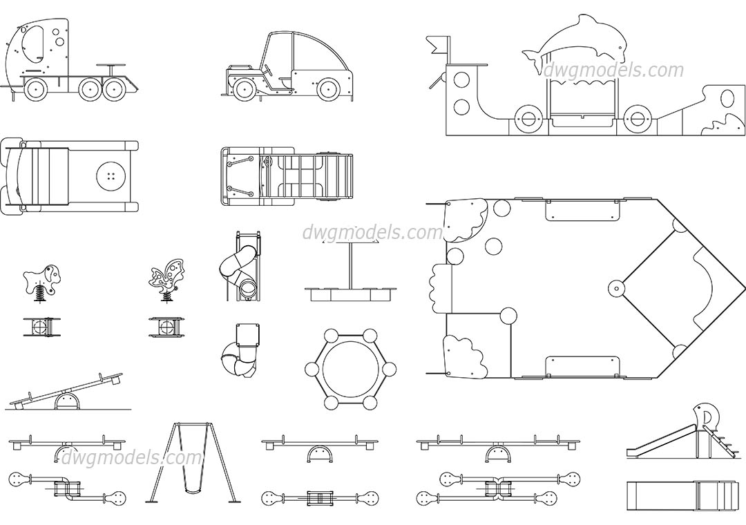 Kids playground equipments dwg, CAD Blocks, free download.