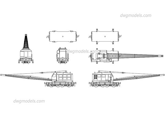Railroad crane free dwg model