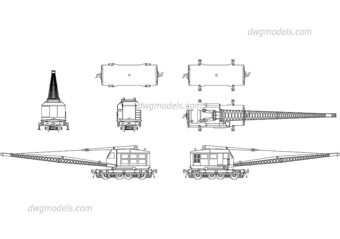 Railroad crane dwg, CAD Blocks, free download.