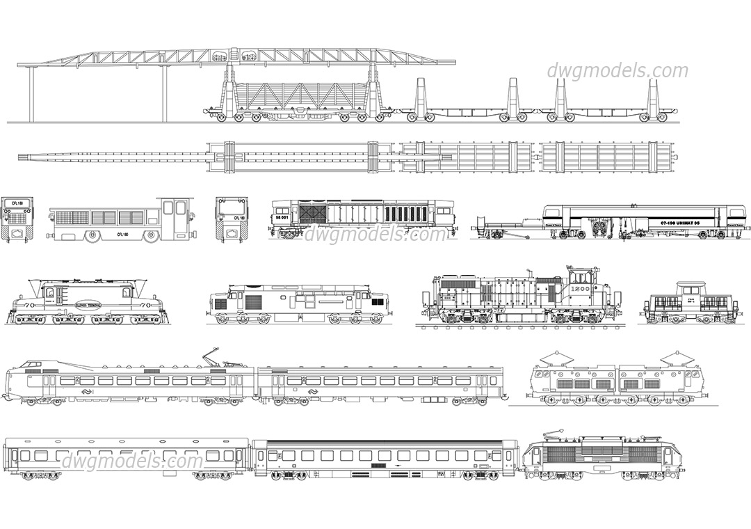 Railway Locomotives and Cars dwg, CAD Blocks, free download.