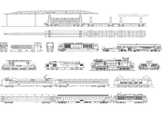 Railway Locomotives and Cars dwg, cad file download free.