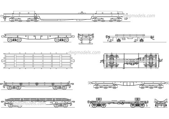 Flat wagon - DWG, CAD Block, drawing