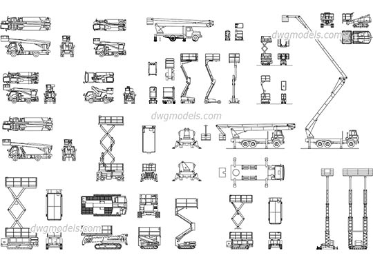 Aerial work platforms dwg, cad file download free.