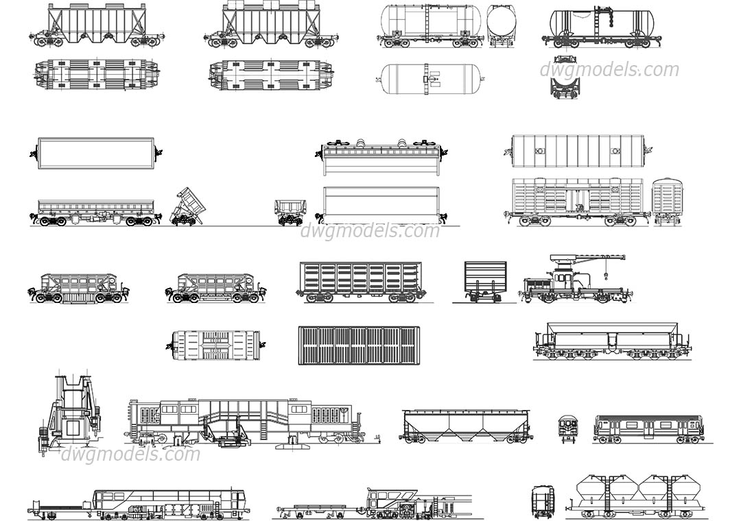 Types of railcars dwg, CAD Blocks, free download.
