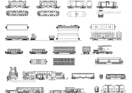 Types of railcars - DWG, CAD Block, drawing