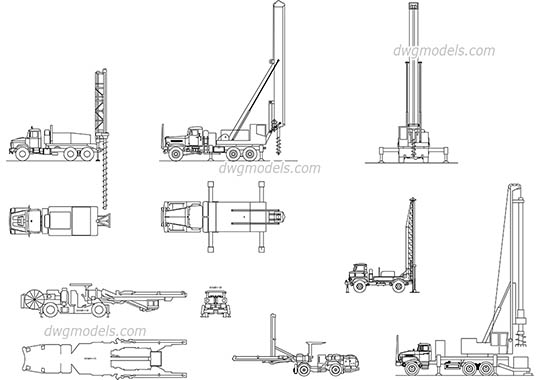 Truck Mounted Well Drilling dwg, cad file download free.
