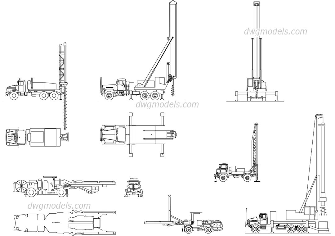 Truck Mounted Well Drilling dwg, CAD Blocks, free download.
