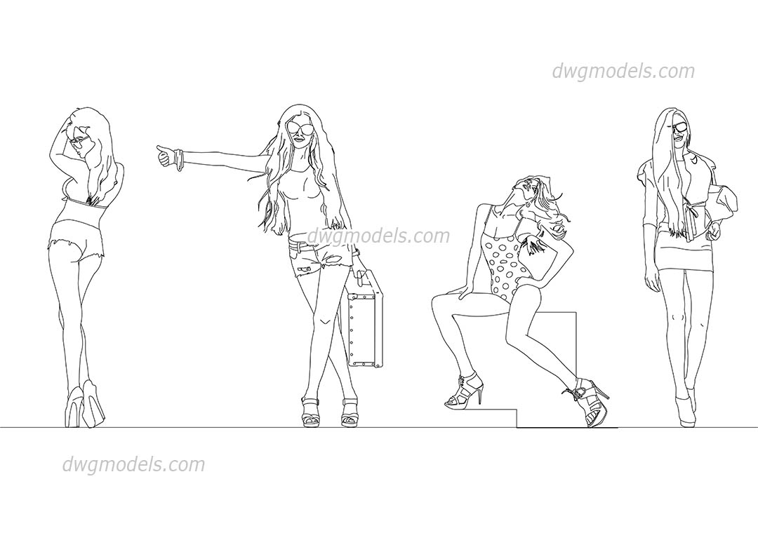 Models Girls dwg, CAD Blocks, free download.