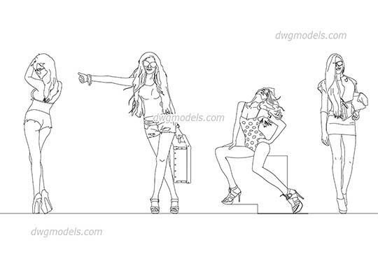 Models Girls dwg, cad file download free.