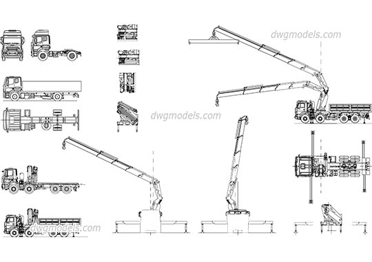 Truck crane manipulator dwg, cad file download free.