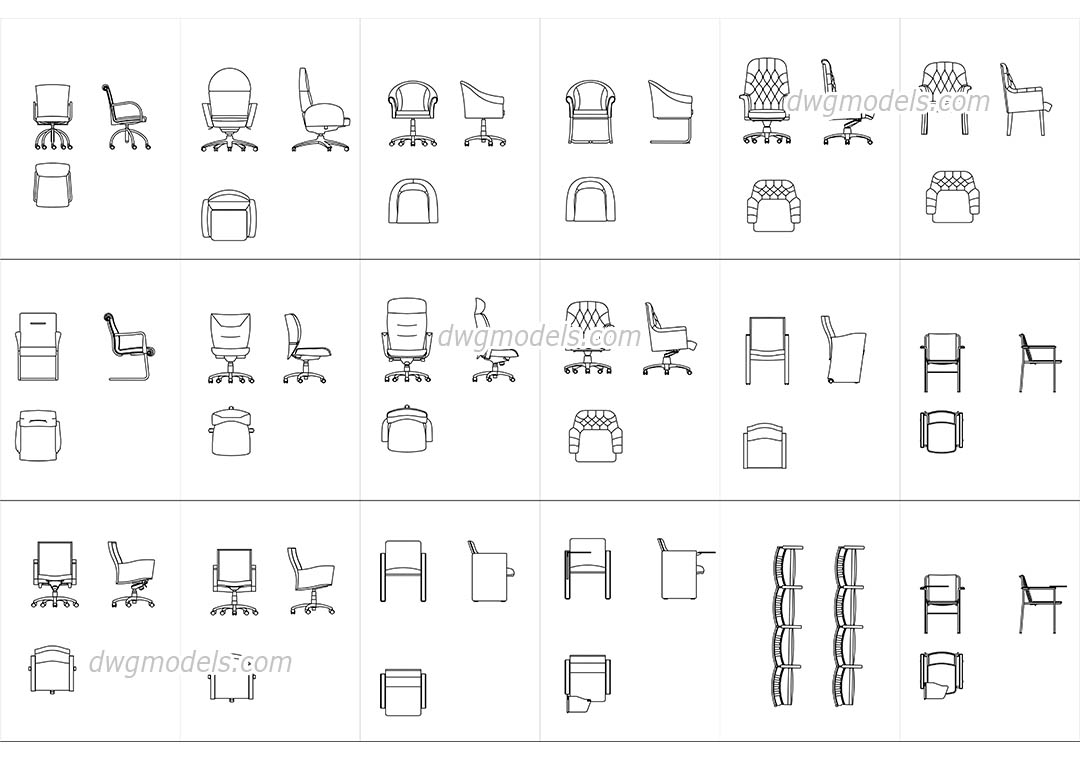 Conference and meeting chairs dwg, CAD Blocks, free download.