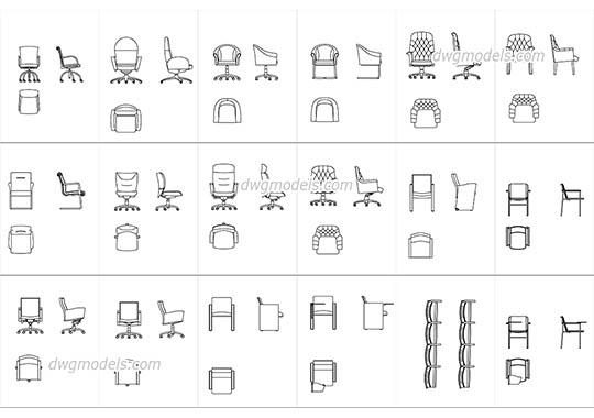 Conference and meeting chairs dwg, cad file download free.