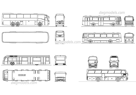 Passenger coach free dwg model