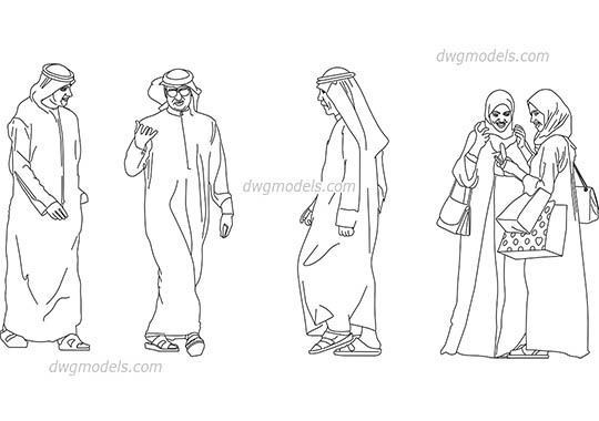 Arab people - DWG, CAD Block, drawing.