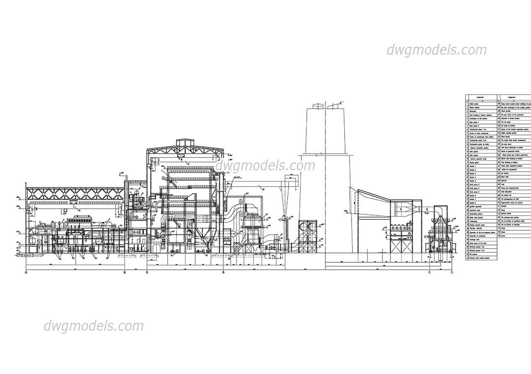 Thermal power station of 1000MW dwg, CAD Blocks, free download.