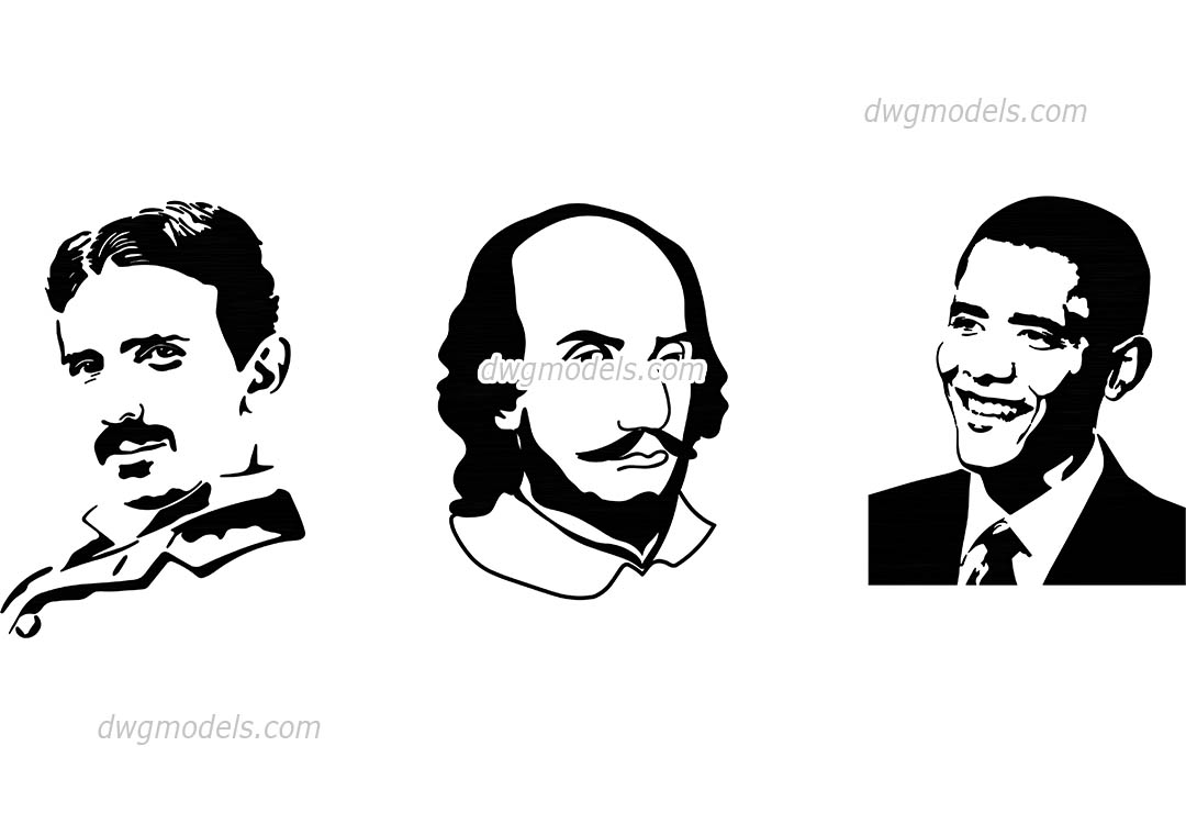 Famous people silhouettes dwg, CAD Blocks, free download.