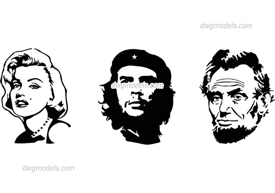 People vector silhouettes free dwg model