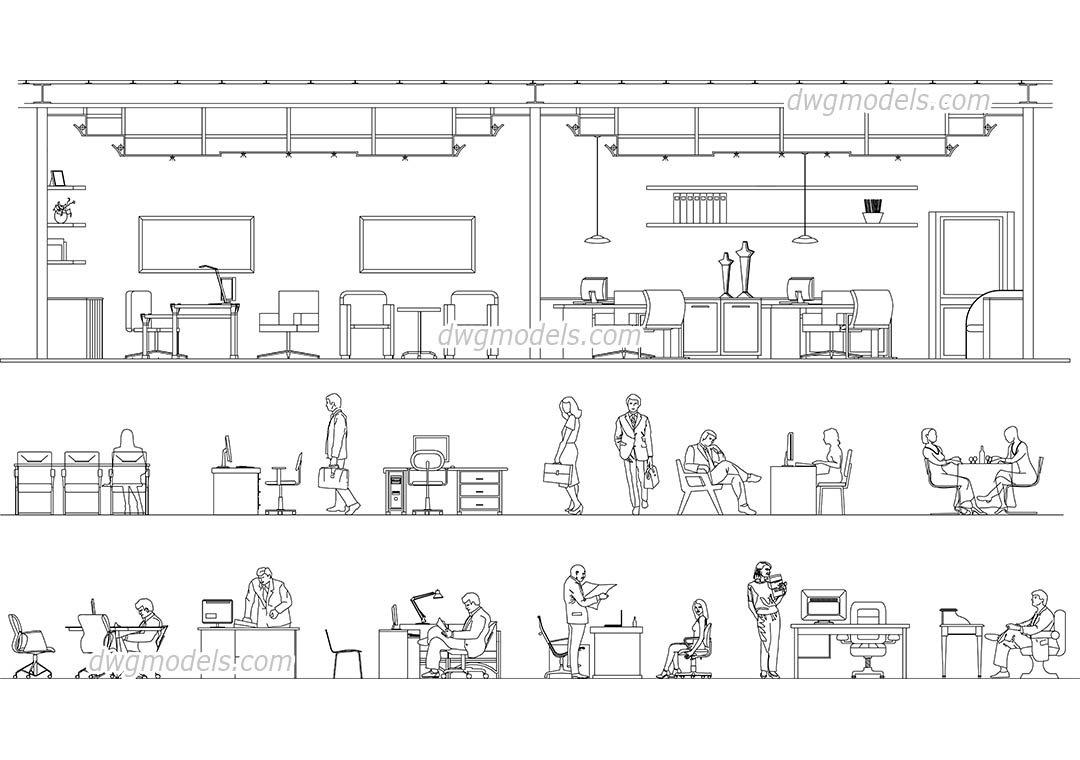 People Office Work Dwg Free Cad Blocks Download