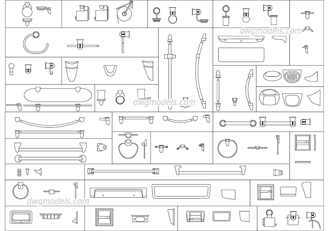 Bathroom accessories dwg, CAD Blocks, free download.