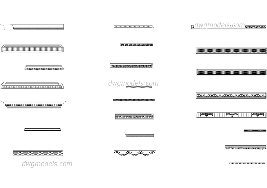 Cornices and moldings DWG, free CAD Blocks download