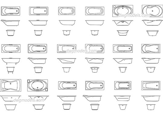 Baths all views - DWG, CAD Block, drawing