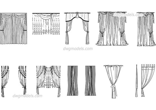 Living Room Curtains dwg, cad file download free