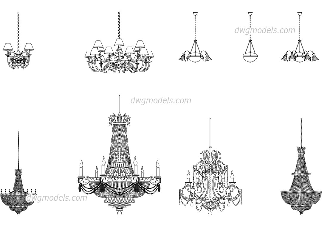 Chandeliers dwg, CAD Blocks, free download.
