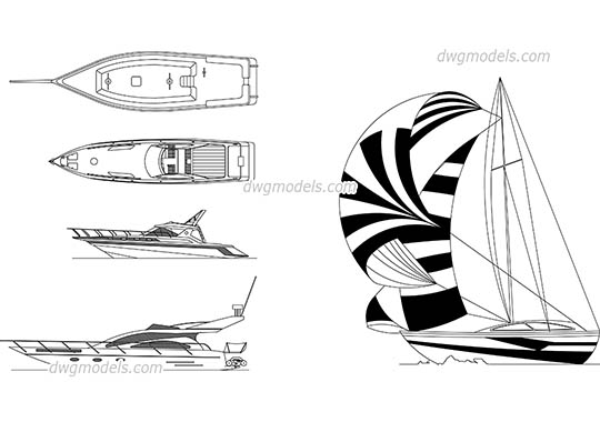 Sailing boat and yachts free dwg model